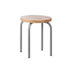 Set 2 scaunele maro/gri din lemn de mango si metal Circle Kids Depot