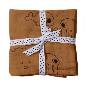 Set 2 scutece galben mustar din bumbac pentru bebelusi 70x70 cm Sea Friends Done by Deer