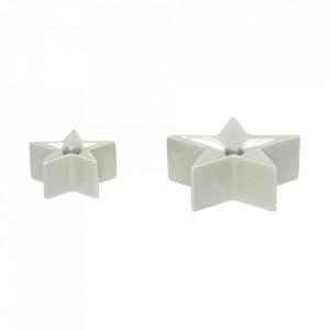 Set 2 suporturi gri din ceramica si portelan pentru lumanari Star Hubsch