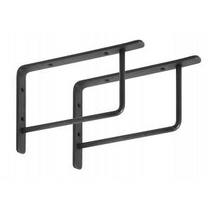 Set 2 suporturi pentru raft negre din fier Brett Nordal