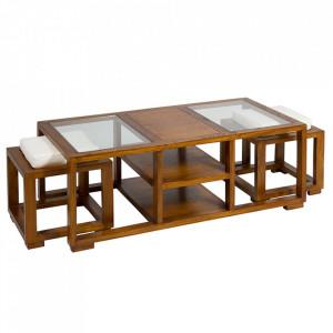 Set 2 tabureti si masuta maro din lemn mindi si placaj Colonial Santiago Pons