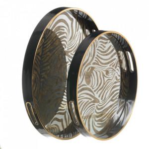 Set 2 tavi rotunde negre/aurii din PVC si sticla Aisne Ixia