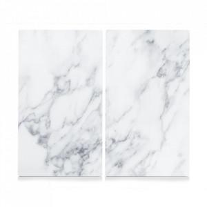 Set 2 tocatoare dreptunghiulare albe din sticla 30x52 cm Marble Zeller