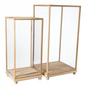 Set 2 vitrine maro din sticla si lemn Marras Pols Potten