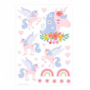Set 28 stickere pentru perete multicolore din vinil Unicorn Paradise A Little Lovely Company