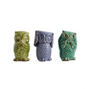 Set 3 bufnite decorative ceramica 15cm mov / verde Nordal