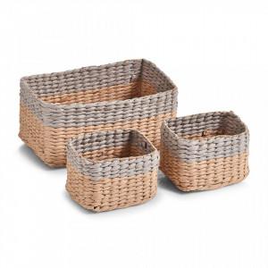 Set 3 cosuri maro/gri din hartie Mesh Storage Baskets Gray Zeller