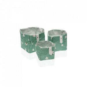 Set 3 cosuri multicolore din poliester Laundry Basket Green Mini Versa Home
