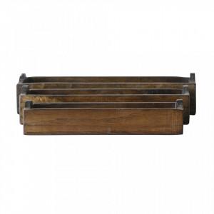 Set 3 cutii maro din lemn Terra Creative Collection