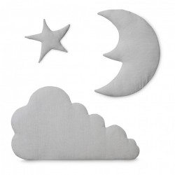 Set 3 decoratiuni gri din bumbac organic pentru perete Moon Cloud Star Light Grey Cam Cam