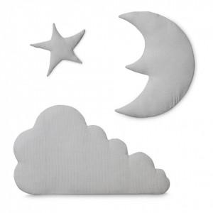Set 3 decoratiuni gri din bumbac organic pentru perete Moon Cloud Star Light Grey Cam Cam