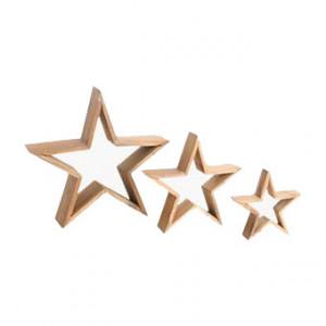 Set 3 decoratiuni maro din lemn de tec Star Raw Materials