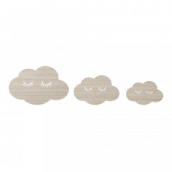 Set 3 decoratiuni perete din placaj Clouds Bloomingville
