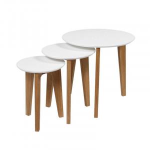 Set 3 masute albe/maro din lemn Abin Actona Company
