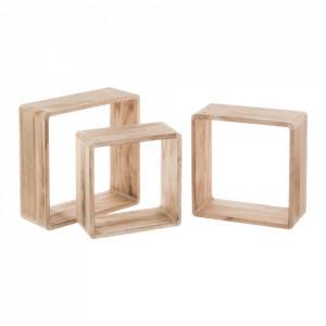 Set 3 rafturi maro din lemn Shelving Modular Unimasa