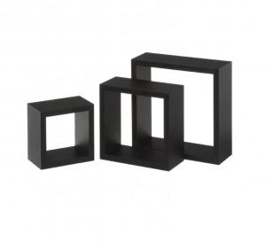 Set 3 rafturi negre din MDF Gim Black Unimasa