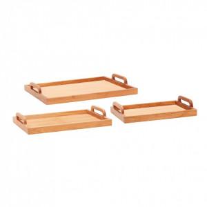 Set 3 tavi dreptunghiulare maro din lemn de stejar Jamia Hubsch