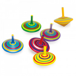 Set 3 titirezi multicolori din lemn de pin Striped Small Foot