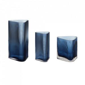 Set 3 vaze albastre din sticla Vappa Hubsch
