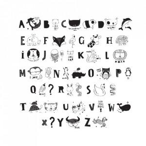 Set 33 de ilustratii pentru caseta luminoasa negre ABC A Little Lovely Company