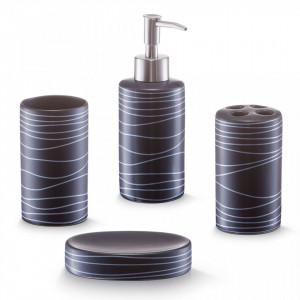 Set 4 accesorii baie din ceramica Bath Access Black Zeller
