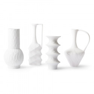 Set 4 vaze albe din portelan Biscuit Style HK Living