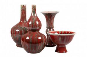 Set 4 vaze rosii din ceramica Hiroshi Versmissen