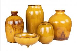 Set 5 vaze ocru din ceramica Ochre Vases Versmissen