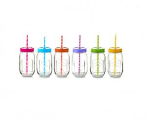 Set 6 cani multicolore din sticla si plastic cu capac si pai 480 ml Color Lid Zeller