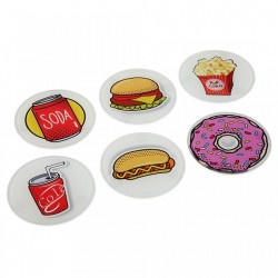 Set 6 coastere multicolore din sticla Food Versa Home