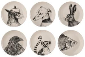 Set 6 farfurii albe din portelan 24 cm Animals Pols Potten