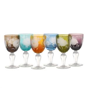 Set 6 pahare multicolore din sticla pentru vin Peony Pols Potten