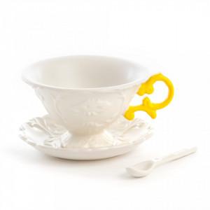 Set ceasca cu farfurioara din portelan alb pentru ceai cu 7x13 cm I-Wares Yellow Seletti