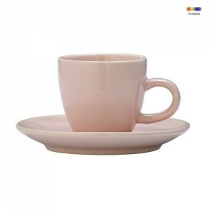 Set ceasca si farfurioara roz din ceramica Alberte Bloomingville