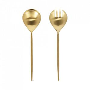 Set lingura si furculita aurii din inox pentru salata Lite Kave Home