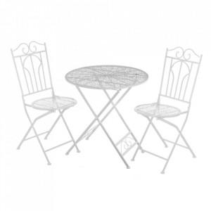 Set masuta si 2 scaune pliabile albe din metal pentru exterior Garden Refined Unimasa
