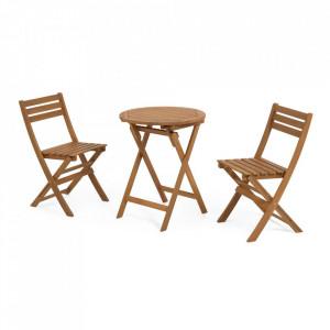 Set masuta si 2 scaune pliabile pentru exterior maro din lemn Elisia Kave Home