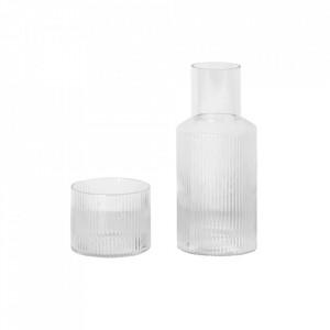Set pahar si carafa din sticla Ripple Clear Ferm Living