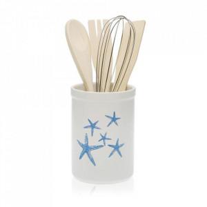 Suport alb/albastru din ceramica pentru bucatarie Blue Sea Tool Versa Home
