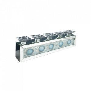 Suport albastru/argintiu din sticla pentru lumanari 16 cm Agate Invicta Interior