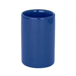 Suport albastru inchis din ceramica pentru periuta dinti 7x11 cm Polaris Wenko