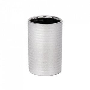 Suport argintiu din ceramica pentru periuta dinti 7,5x11,2 cm Polaris Tumbler Juwel Wenko