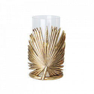 Suport auriu/transparent din rasina pentru lumanare 26 cm Genie Vical Home