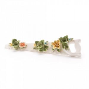 Suport din portelan pentru lumanari 40X9 cm Flower Attitude The Saw Seletti