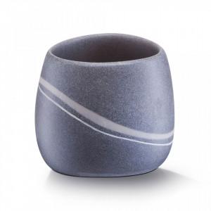 Suport gri din polirasina 8x9,5 cm pentru periuta dinti Stone Look Cup Zeller