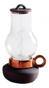 Suport gri/maro cupru din sticla si portelan pentru lumanare 18 cm Bugia Anthracite Copper Seletti