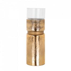 Suport lumanare auriu/transparent din sticla 44 cm Alecia Richmond Interiors