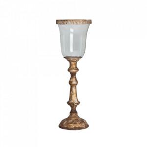 Suport lumanare auriu/transparent din sticla si fier 61 cm Ben Vical Home