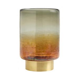 Suport lumanare multicolor din sticla si alama 25 cm Jim Nordal