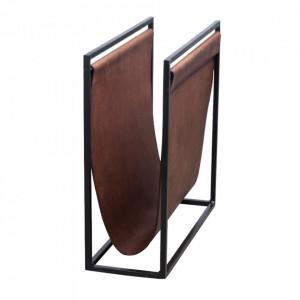 Suport maro/negru din metal si piele pentru reviste Freeman Small LifeStyle Home Collection